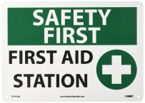 """NMC SF161AB OSHA Sign, Legend """"SAFETY FIRST - FIRST AID STATION"""" with Graphic, 14"""" Length x 10"""" Height, Aluminum, Black/Green on White"""