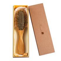Breezelike Sandalwood Hair Brush - Wooden Natural Detangler - Handmade Pro Detangling Massage Brush