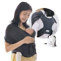 Konny Baby Carrier Summer | Ultra-Lightweight, Hassle-Free Baby Wrap Sling | Newborns, Infants to 44 lbs Toddlers | Cool and Breathable Fabric | Sensible Sleep Solution (Charcoal, XL)