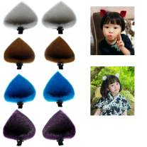 ThEast Cat ears barrette,Rabbit ears hairpin for Babies, Toddlers, Young Girls, and Children (4pairs Cat ears C)