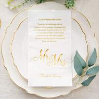 """Crisky Gold Mr & Mrs Dinner Napkins Wedding Dinner Napkins Replace Thank You Card Disposable Decorative Towels for Wedding Shower Banquet Rehearsal Dinner Decoraions,50 Pcs, 3-ply, 12""""x16"""""""