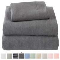 Great Bay Home Jersey Knit Sheets. All Season, Soft, Cozy California King Jersey Sheets. T-Shirt Sheets. Jersey Cotton Sheets. Heather Cotton Jersey Bed Sheet Set. (California King, Charcoal)