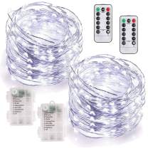 MUMUXI 2 Pack 33Ft 100 LED Fairy Lights Battery Operated, String Lights with 8 Modes Remote Control Timer Waterproof Copper Wire Twinkle Lights for Bedroom Wedding Party Chirstmas Decor, Cool White