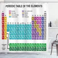 """Ambesonne Periodic Table Shower Curtain, Educational Artwork for Classroom Science Lab Chemistry Club Camp Kids Print, Cloth Fabric Bathroom Decor Set with Hooks, 70"""" Long, Pale Blue"""