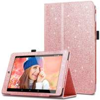 Fingic Case for All-New Amazon Fire HD 8 Tablet (7th and 8th Generation, 2017/2018 Release) Glitter Sparkly Folio Folding Stand Cover with Holder & Auto Wake/Sleep Smart Case for Fire HD 8, Rose Gold