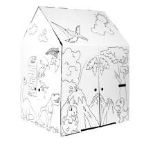 """Easy Playhouse Dinosaur House - Kids Art & Craft for Indoor & Outdoor Fun, Color Dino Species – Decorate & Personalize The Cardboard Fort, 32"""" X 26. 5"""" X 40. 5"""" - Made in USA, Age 3+ [AMZN Exclusive]"""