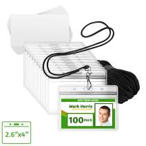 EcoEarth ID Badge Holder and Lanyard Set (Black, 2.6x4 Inch, 100 Pack) Includes Pre-Cut Name Card Labels, Clear Waterproof Protector Sleeve & Lanyard