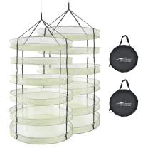 iPower 2-Pack 3ft 6Layer Mesh Herb Rack Hanging Collapsible Dry Net with Foldable Heavy Duty Rings and Carrying Bag, 6L, Hydroponic Plant Bud Dryer
