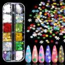 Holographic Snowflakes Nail Art Sequins, KISSBUTY 12 Colors Nail Snowflakes Nail Glitters Set Christmas Nail Flake Sparkly DIY Nail Decals