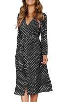Angashion Women's Dresses-Short Sleeve V Neck Button T Shirt Midi Skater Dress with Pockets 707 Black Dot S