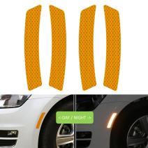 COSMOSS Reflective Safety Reflector Bumper Side Wheel Sticker Orange