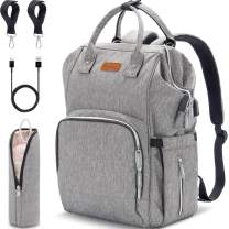 Diaper Bag Backpack - Multifunction Large Travel Baby Bag with USB Charging Port & Stroller Straps, Water-Resistant Nappy Baby Bag with Insulated-Pockets & Nappy Changing Pad, Gray