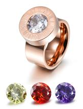 CIUNOFOR Wide Band Enhancer Ring for Women Yellow Red Purple White CZ Ring Gold Rose Gold Plated Stainless Steel Ring