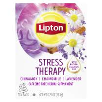 Lipton Herbal Supplement For a Relaxing Cup of Tea Stress Therapy With Natural Essential Oils and Caffeine Free 15 count