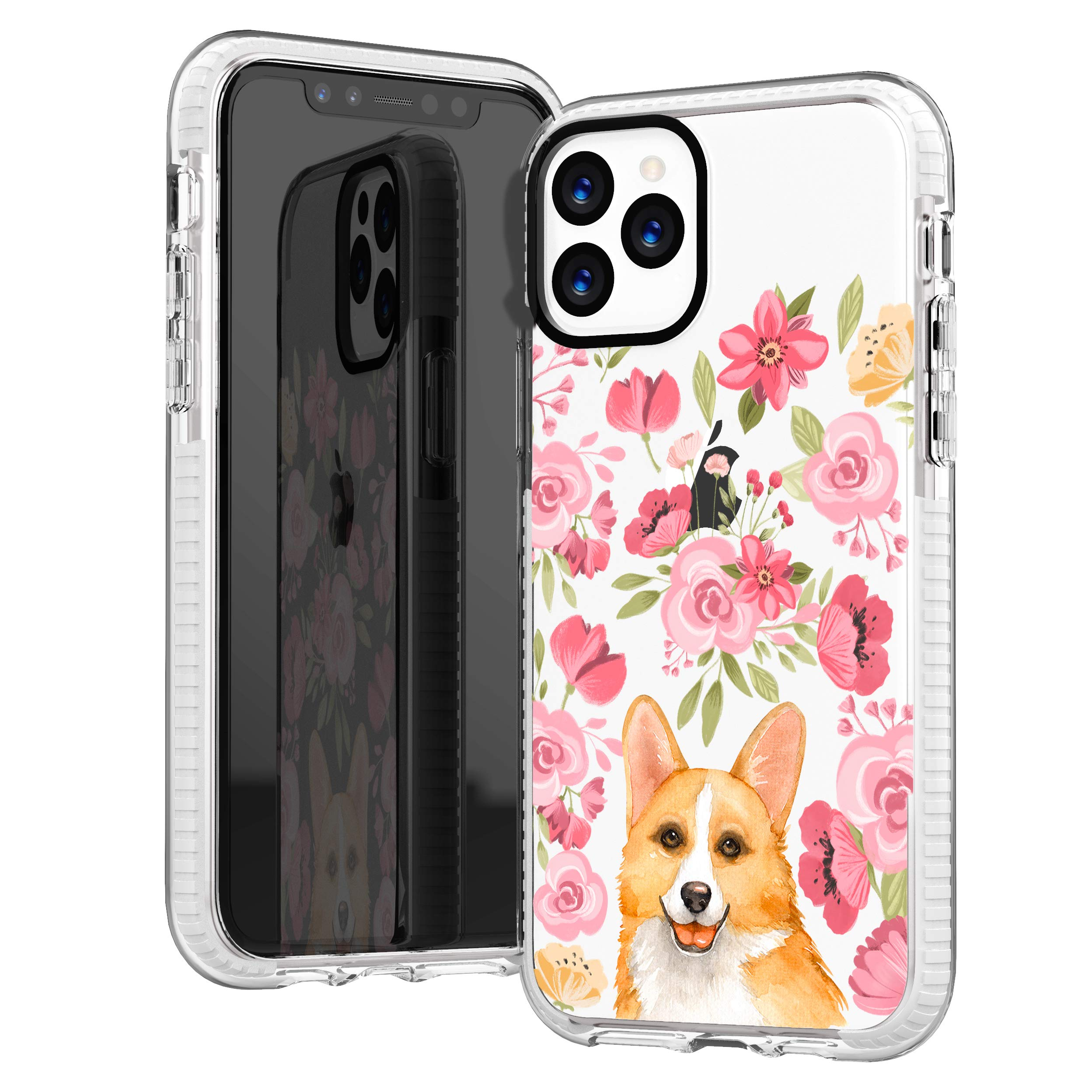 iPhone 11 Pro Max Clear Case,Cute Corgi with Pink Blooms Flowers Floral Daisy Love Funny Puppy Dog Trendy Hipster Girls Women Soft Protective Clear Design Case Compatible for iPhone 11 Pro Max
