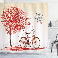 "Ambesonne Valentines Day Shower Curtain, Romantic Tree with Blooming Hearts with Bike and Petals Vintage Artwork, Cloth Fabric Bathroom Decor Set with Hooks, 84"" Long Extra, Cream Vermilion"