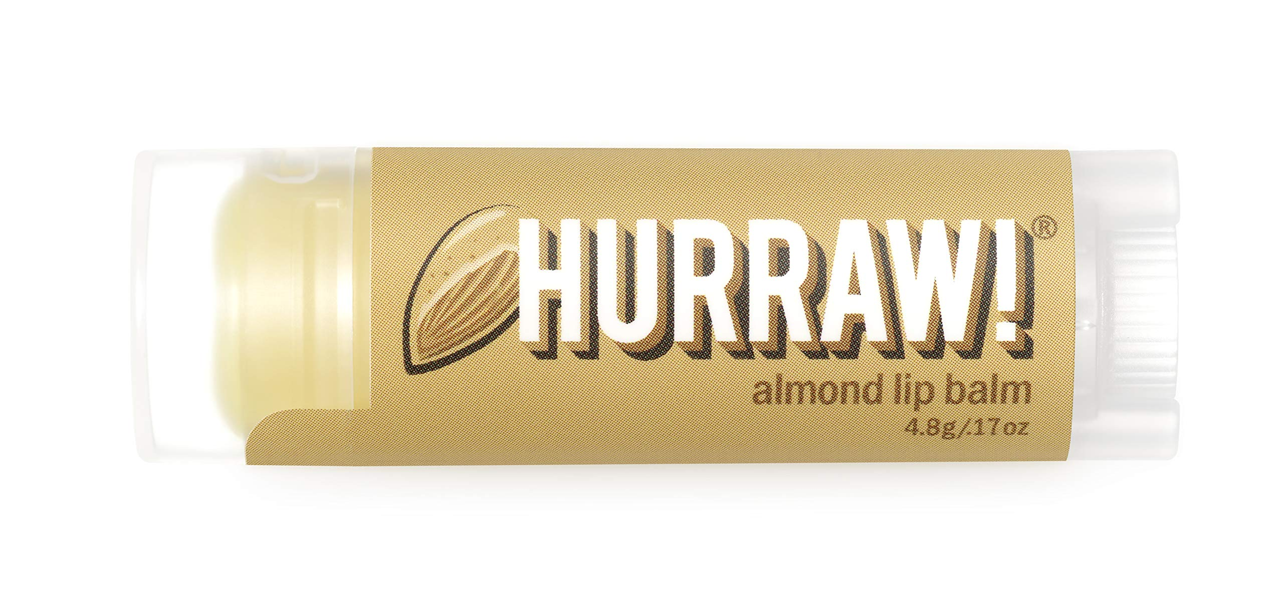 Hurraw Almond Lip Balm, 4.8g/.17oz – Organic, Certified Vegan, Cruelty and Gluten Free. Non-GMO, 100% Natural Ingredients. Bee, Shea, Soy and Palm Free. Made in USA
