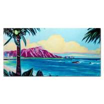 ISLAND DAZE Christy Shinn Beach Towel - Large Beach Towel (30 x 60 Inches) - 100% Cotton Pool Towel - Hawaiian Beach Design