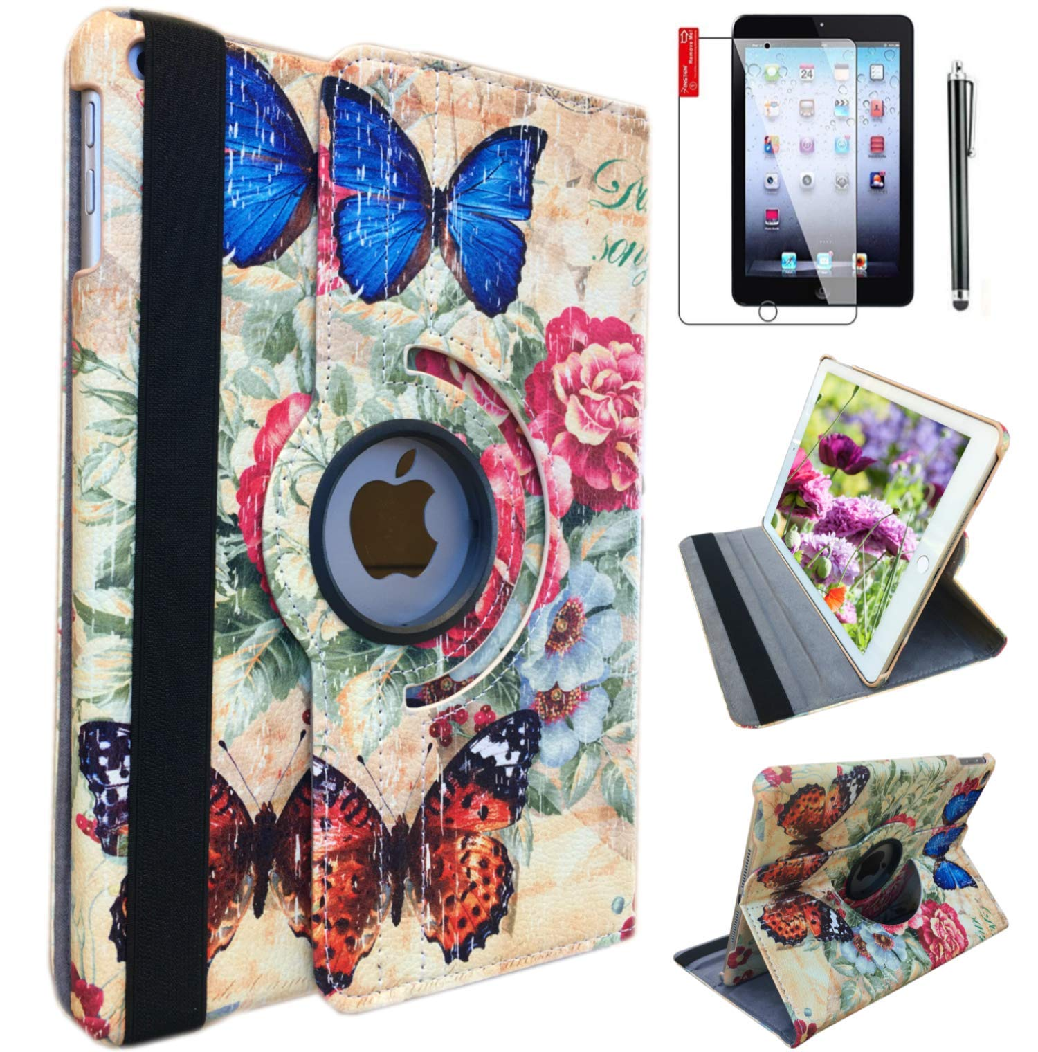 ipad pro10.5 inch case Blue Butterfly 2017 Released for ipad Model A1701 A1709 Case 360 Degree Rotating Smart Cover Stand Support Wake/Sleep