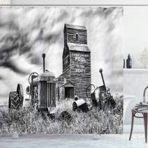 """Ambesonne Industrial Shower Curtain, Old 60s Abandoned Tractor in Farm in Central Canada Nostalgic Machinery Elements Image, Cloth Fabric Bathroom Decor Set with Hooks, 75"""" Long, Grey"""