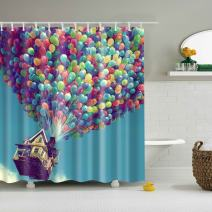 COLORPAPA Multicolor Decorative Shower Curtain Hot Air Balloon Take The Wooden House Fly Up in The Blue Sky Waterproof Durable Polyester Fabric Bath Curtain with 12pcs Hooks