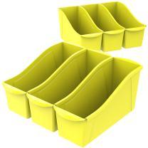 "Storex Large Book Bin, 14.3 x 5.3 x 7"", Yellow, Case of 6 (71105U06C)"