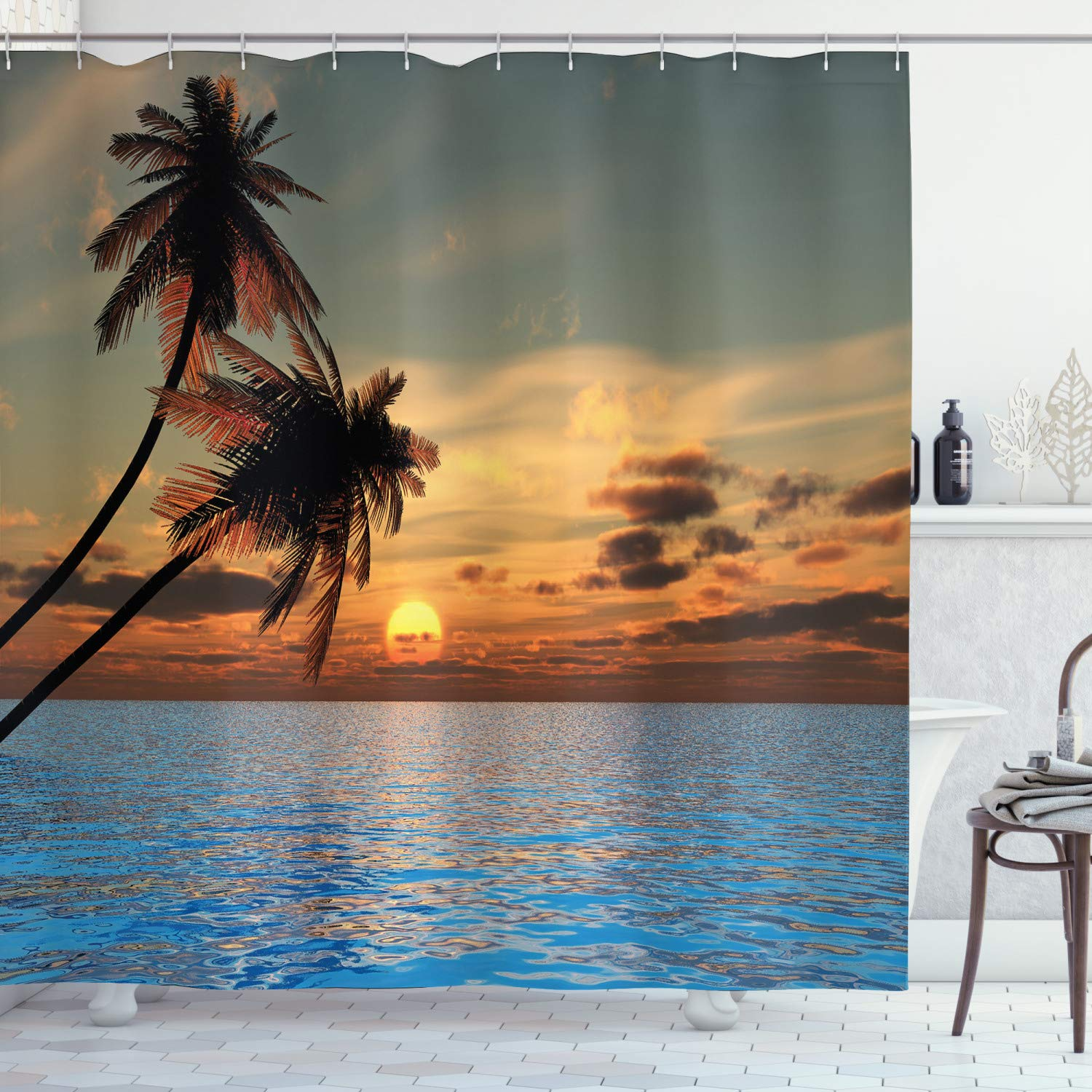 """Ambesonne Tropic Shower Curtain, Exotic Sundown in Hawaiian Sky with Calm Ocean and Palm Trees Idyllic Nature Photo, Cloth Fabric Bathroom Decor Set with Hooks, 70"""" Long, Brown Blue"""