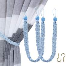 Home Queen Hand Braided Curtain Tie Back, Buckle Holdback Drapery Curtain Tiebacks, 2 Rope Belt Curtain Tie with 2 Metal Hooks, Blue and Silver