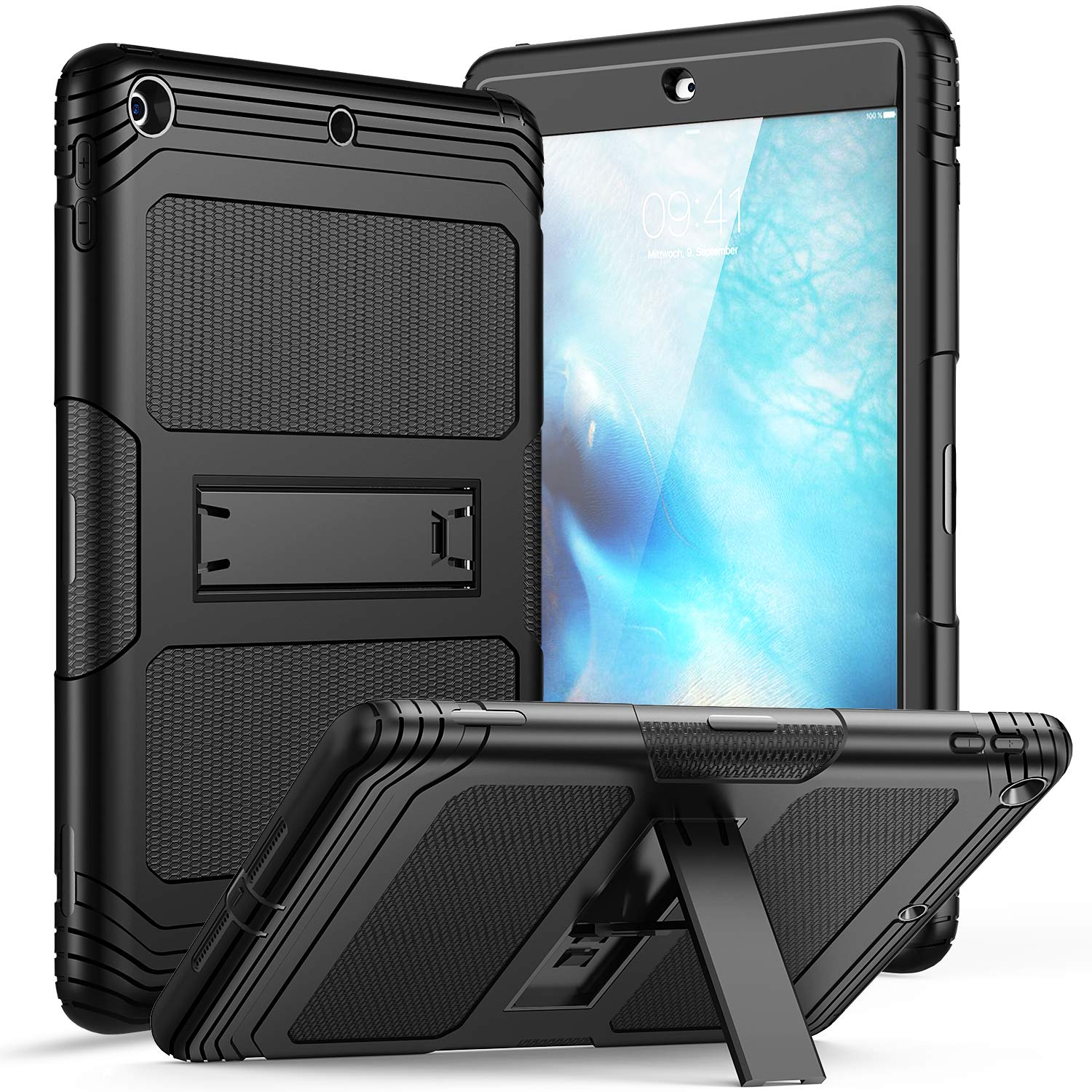 SKYLMW iPad 6th Generation Case,iPad 5th Gen Cover,iPad 9.7 Case,Shockproof Anti-dust Anti-Scratched Rubber Hard Plastic Drop Protection with Stand Protective Cases for iPad 2017/2018 9.7 inch,Black