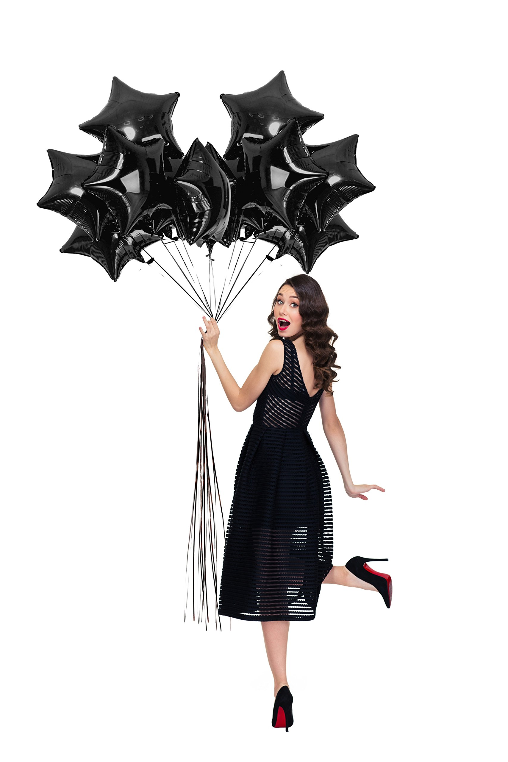 Treasures Gifted Black Star Shape Foil Balloons 18 Inch Sparkly Mylar 12 Pack for Birthday Wedding Graduation New Year Eve Party Supplies