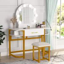 Vanity Table Set with Lighted Mirror & Stool, Makeup Vanity Dressing Table with 8 Lights for Women, Dresser Desk with Drawer Storage Shelves for Bedroom(Gold and White)