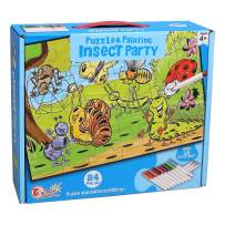 Ingooood - Jigsaw Puzzles for Kids Come with 12 Coloring Markers - Great Girl Gift, Fun Creative Toys & Art Set - Child Game Decompression Leisure Entertainment Childrens Gifts (Party1)