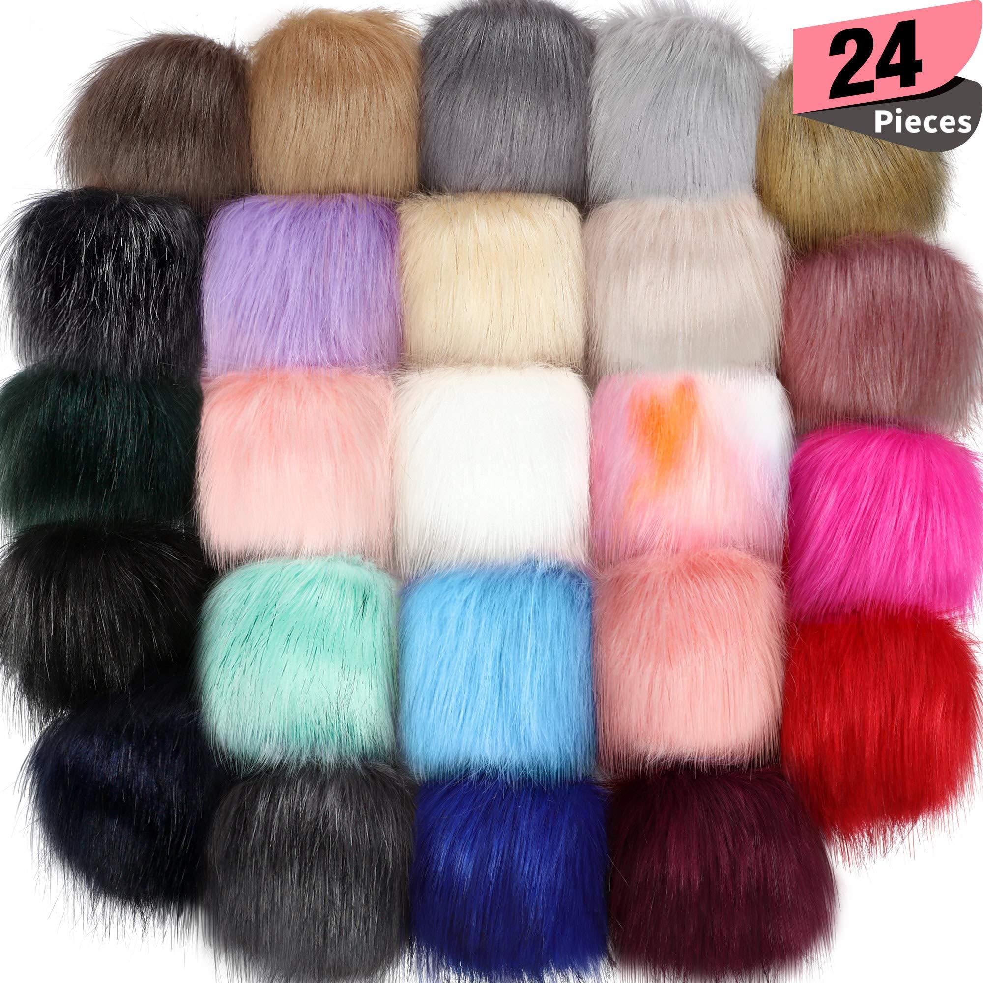 14 Pieces Hat Faux Fur Pom Pom Ball DIY Faux Fox Fur Pompom for Hats Shoes Sc...
