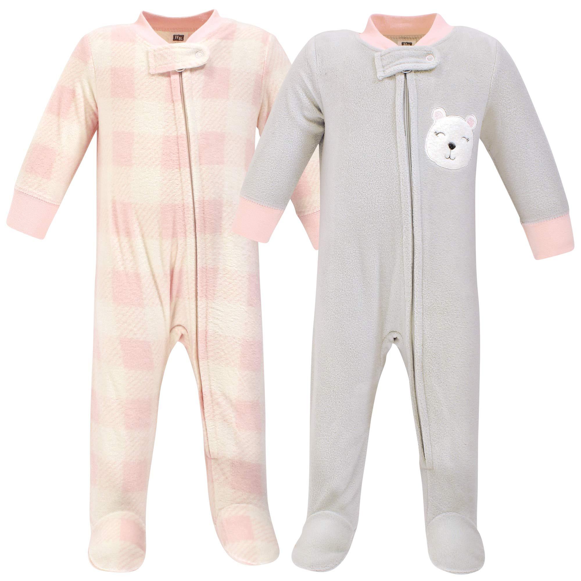 Hudson Baby Unisex Fleece Sleep and Play, Girl Baby Bear 2-Pack