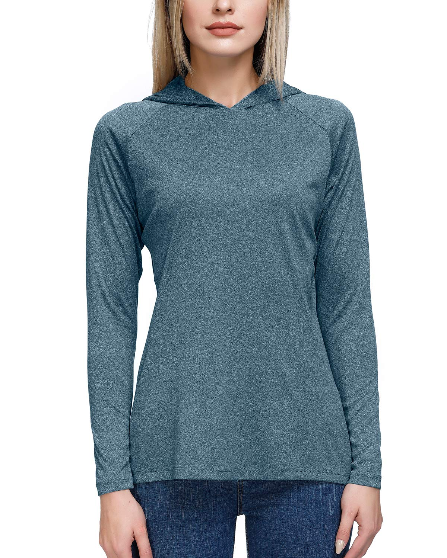 Women's UPF 50+ UV Sun Protection Long Sleeve Hoodies Thumb Holes Outdoor Workout Hiking T-Shirts