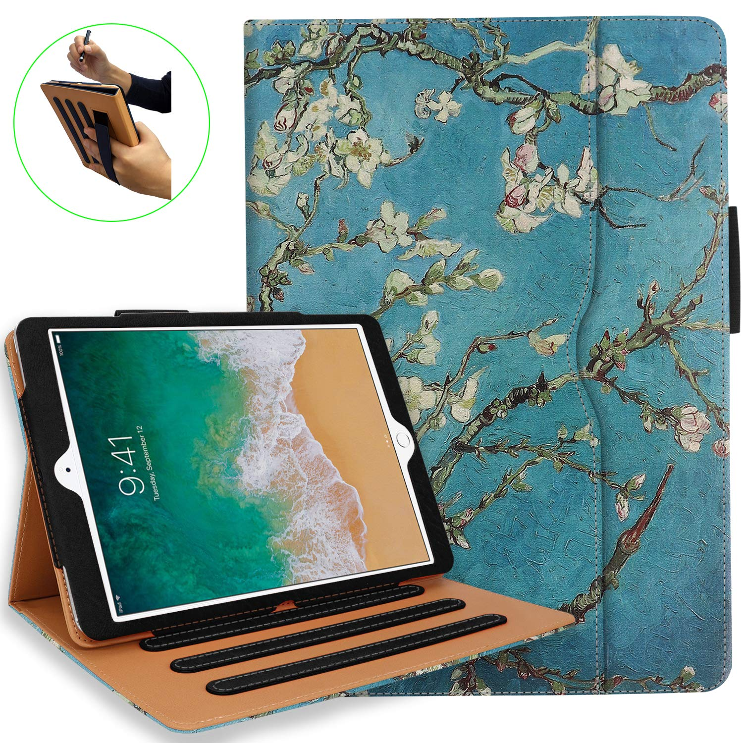 iPad 5th 6th Generation Case with Hand Strap and Document Pocket - iPad 9.7 inch 2018 2017 Cover - Multi-Angle Stand, Auto Sleep Wake, Shockproof - A1822 A1823 MR7F2LL/A MR7F2LL/A(Pear Flower)