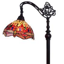 """Amora Lighting Tiffany Style Floor Lamp Arched Adjustable 62"""" Tall Stained Glass Red Yellow Green Dragonfly Antique Vintage Light Decor Bedroom Living Room Reading Gift AM079FL10B, 10 Inch Diameter"""