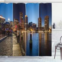 """Ambesonne American Shower Curtain, Boston Skyline Day and Night Cityscape Skyscraper Reflection in Water Metropolis, Cloth Fabric Bathroom Decor Set with Hooks, 75"""" Long, Orange Blue"""