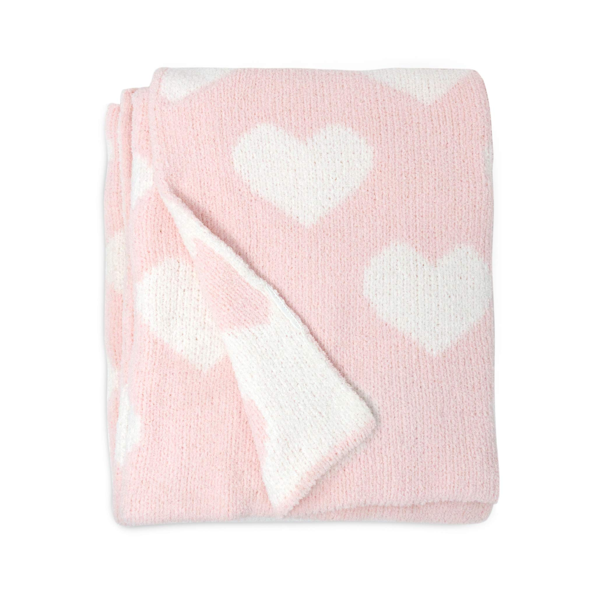Living Textiles Pink Hearts Chenille Soft Baby Blanket Premium Cozy Fabric for Best Comfort - for Infant,Toddler,Newborn,Nursery,Girl,Throw,Crib,Stroller,Gift, Pink Hearts 40x30