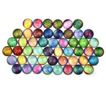 DROLE 100Pcs 12mm Colorful Cabochons Rainbow Candy Colorx Flatback Printed Pattern Glass Half Round Dome Cabochons for 12mm Bezel Blanks