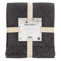 Whisper Organics Organic Cotton Throw Blanket G.O.T.S. Certified, Hypoallergenic (50x60, Dark Grey)