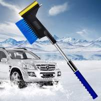 """34"""" Extendable Car Snow Removal Broom Brush & Ice Scraper with Safety Hammer, Frost Broom Cleaner for Car Auto SUV Truck Window & Windshield Tool"""
