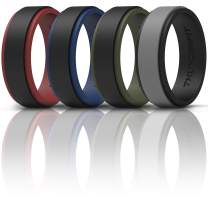 ThunderFit Silicone Wedding Rings for Men 2 Layers - 7 Rings / 4 Rings / 1 Ring - Step Edge Sleek Design Rubber Engagement Bands - 10mm Width - 2.3mm Thickness