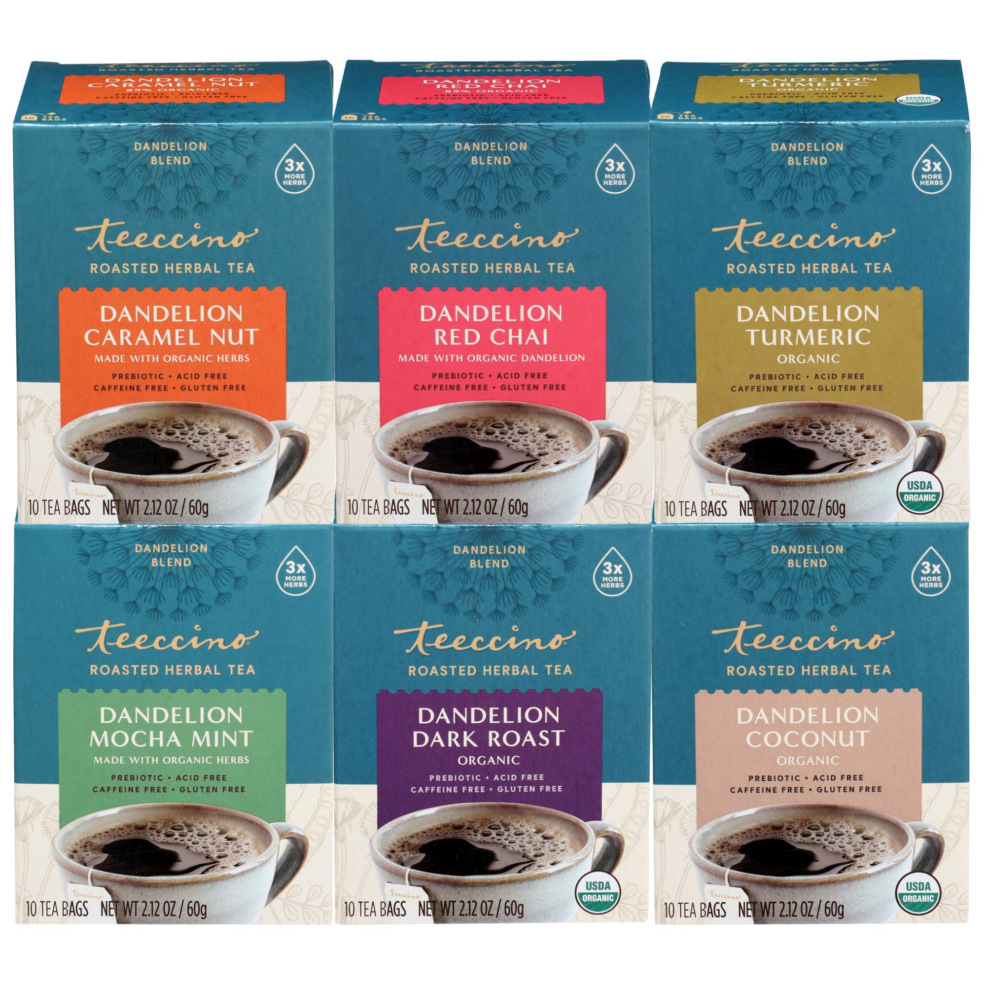 Teeccino Dandelion Tea Variety Pack - Dark Roast, Caramel Nut, Mocha Mint, Turmeric, Red Chai, Coconut – Acid Free Coffee Alternative, Prebiotic, Gluten Free, Caffeine Free, 10 Tea Bag (Pack of 6)