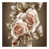 """5D Diamond Painting Kits for Adults by BANLANA, DIY Cross Stitch Crystal Rhinestone Embroidery Pictures Art Kit with Premium Tools, 12"""" by 12"""" Arts Craft for Home Wall Decor (White Roses)"""