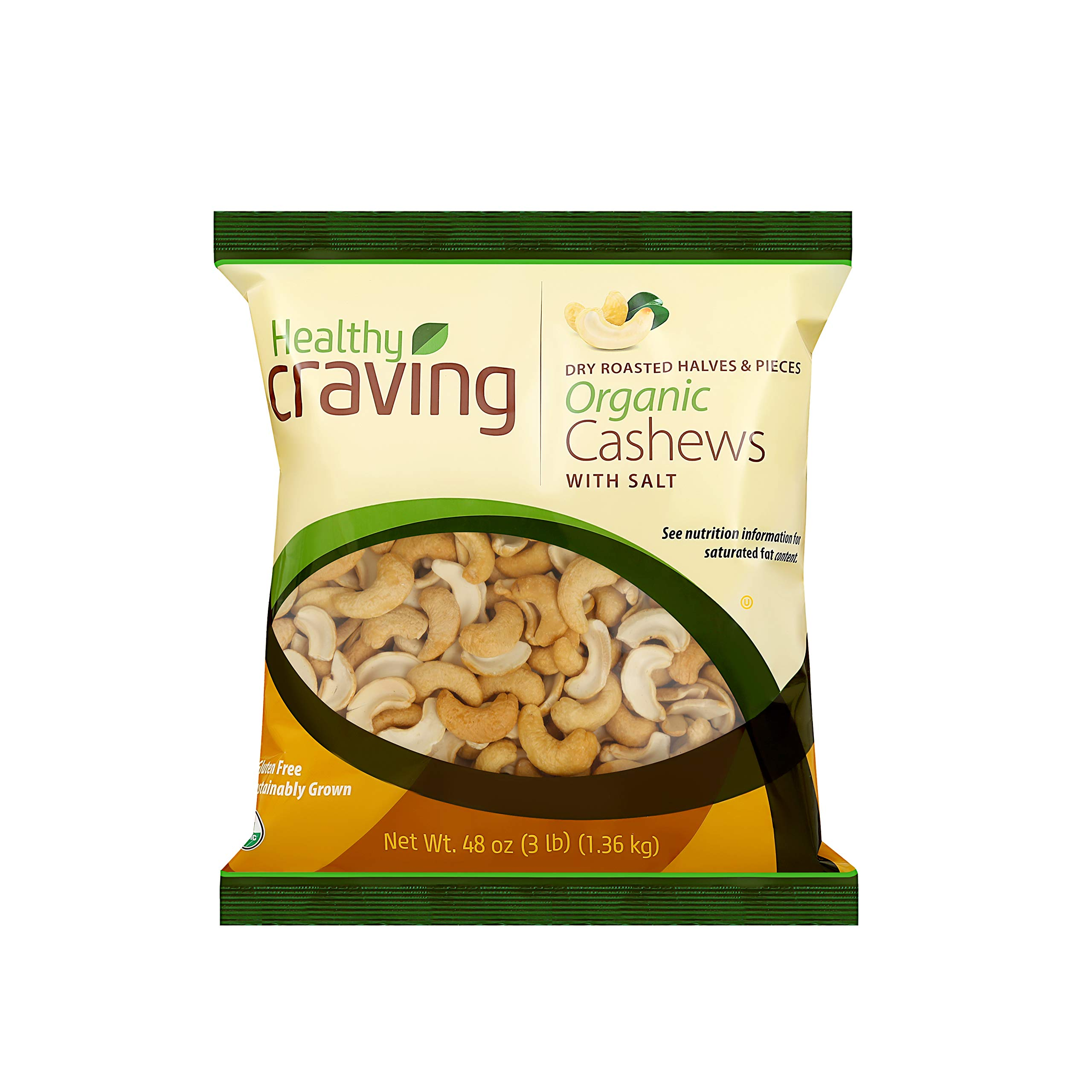 Healthy Craving Dry Roasted Salted Organic Halves and Pieces, 48oz