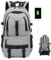 Japan style 2020 Anti Theft Business Laptop Backpack with USB Charging Port(Mobile charge)Fits 17 inch,Travel College and School Computer Bag for men&Women Multiple pockets(light grey)
