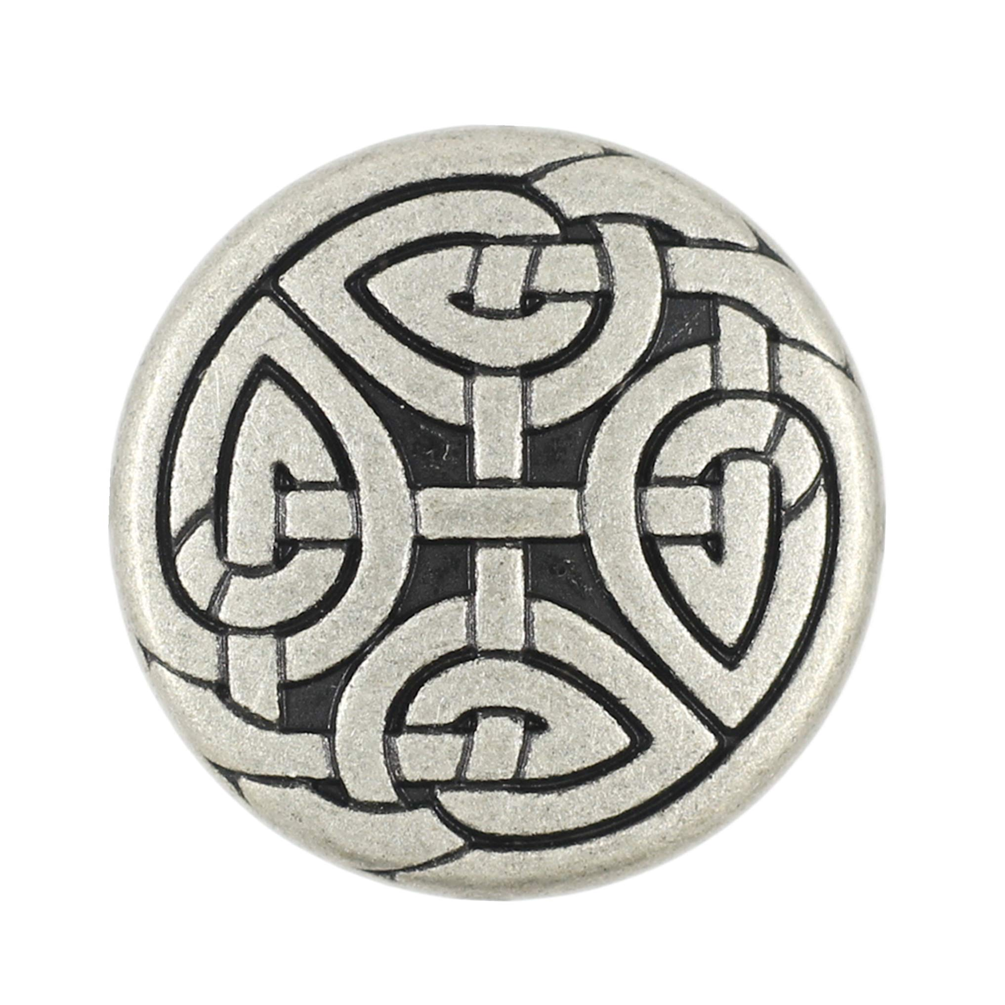 Bezelry 10 Pieces Celtic Eternal Knot Metal Shank Buttons. 23mm (7/8 inch) (Antique Silver)