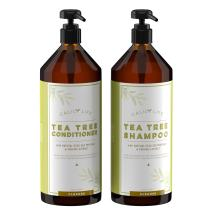 Calily Life Organic Tea Tree Shampoo + Conditioner with Dead Sea Minerals, Duo Set, 33.8/30.6 fl Oz  Concentrated Extra-strength Formula Removes Impurities, Refreshes, Softens and Invigorates