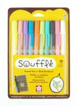 Sakura 58350 10-Piece Blister Card Souffle Assorted Color 3-Dimensional Opaque Ink Pen Set, 10PK Set